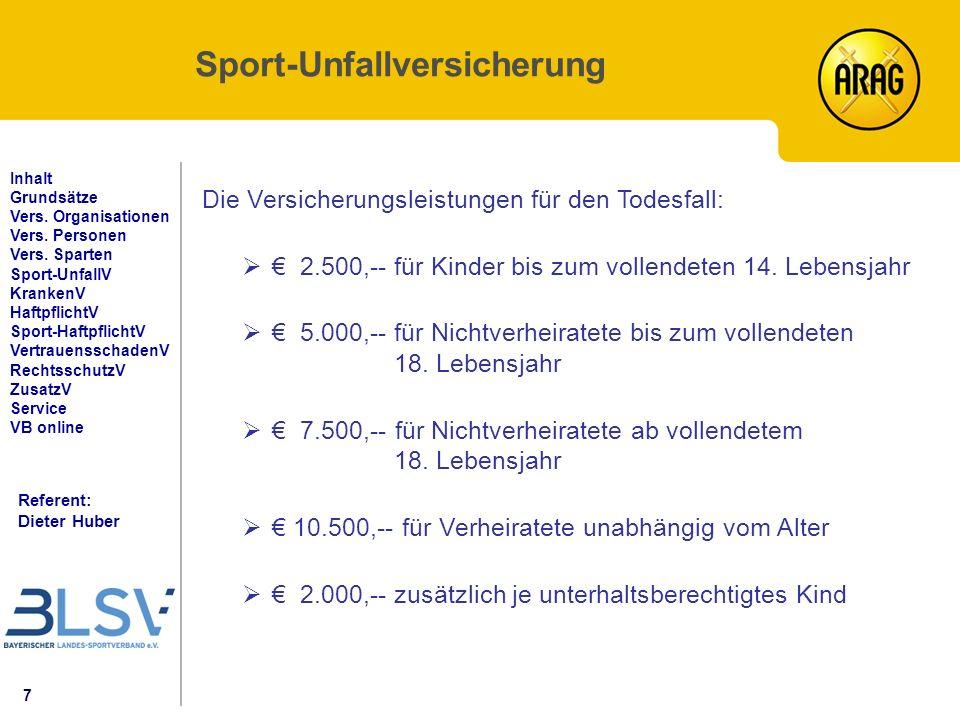 18 Referent: Dieter Huber Inhalt Grundsätze Vers.Organisationen Vers.