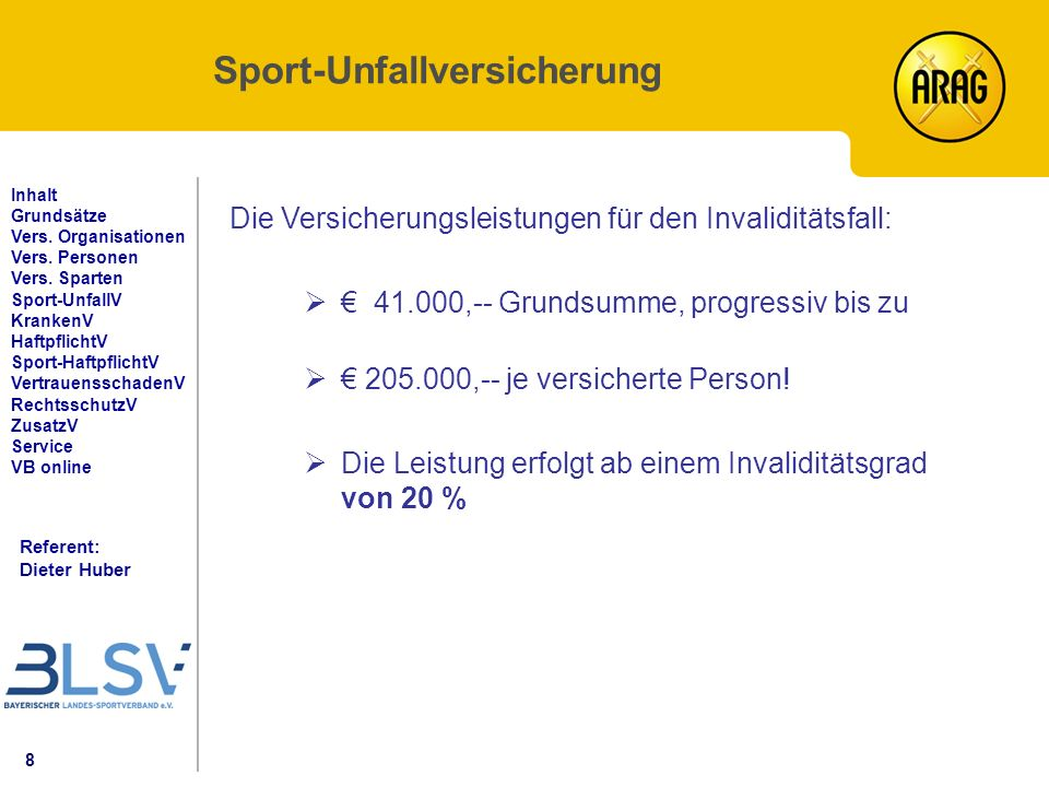 8 Referent: Dieter Huber Inhalt Grundsätze Vers. Organisationen Vers.