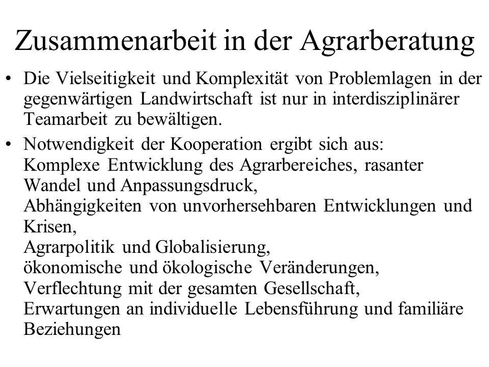 Zusammenarbeit in der Agrarberatung Die Vielseitigkeit und Komplexität von Problemlagen in der gegenwärtigen Landwirtschaft ist nur in interdisziplinä