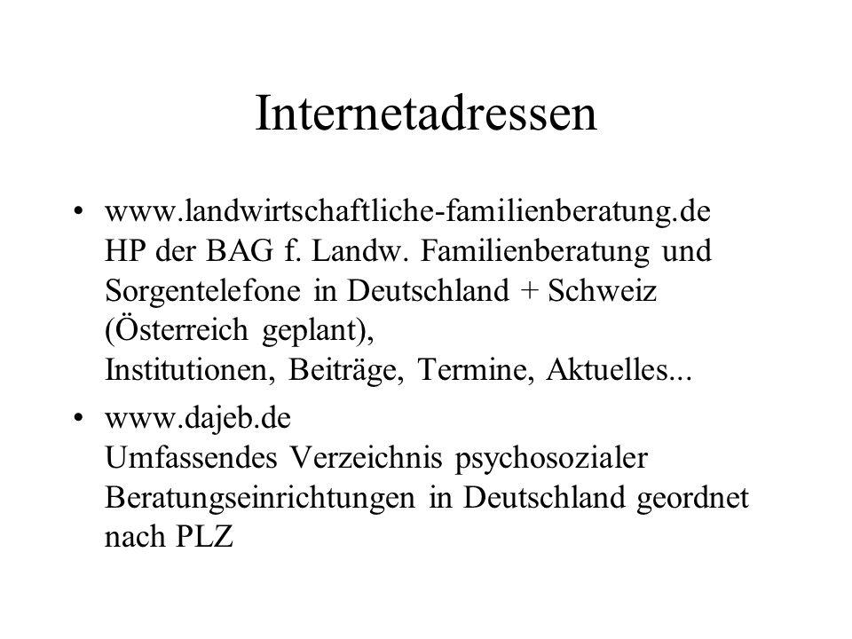 Internetadressen www.landwirtschaftliche-familienberatung.de HP der BAG f. Landw. Familienberatung und Sorgentelefone in Deutschland + Schweiz (Österr