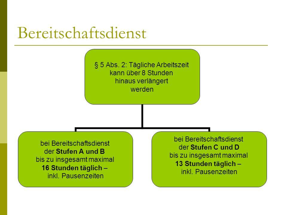 Bereitschaftsdienst § 5 Abs.