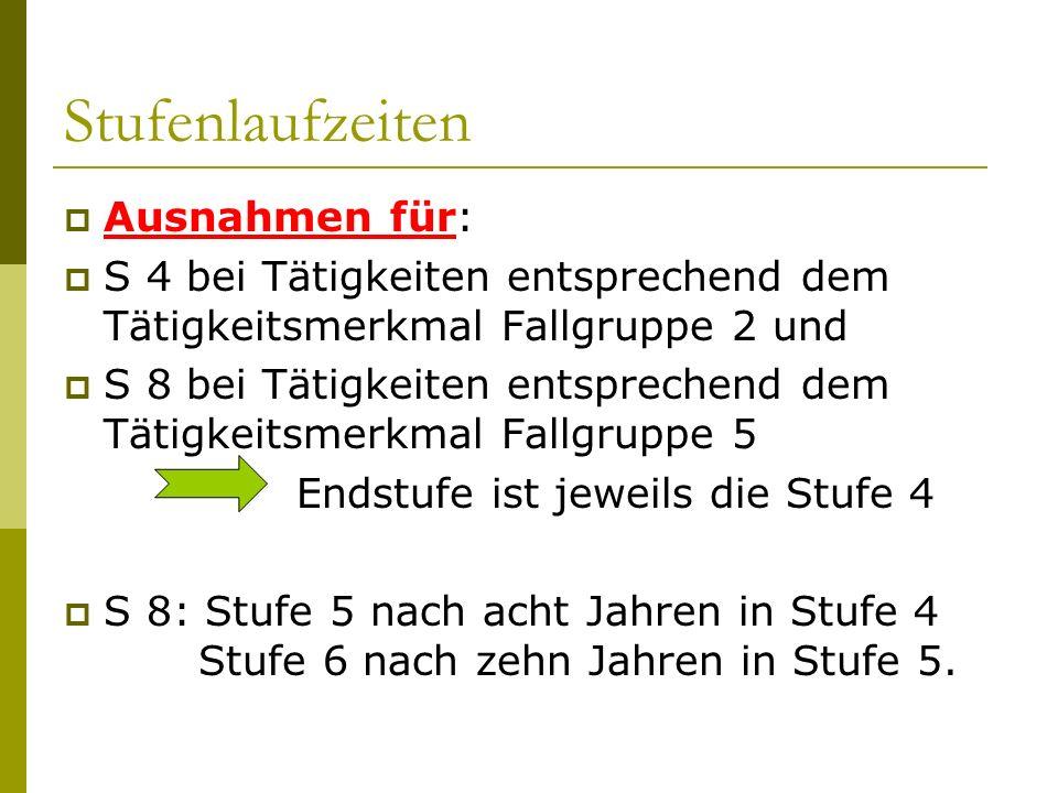 Stufenlaufzeiten Ausnahmen für: S 4 bei Tätigkeiten entsprechend dem Tätigkeitsmerkmal Fallgruppe 2 und S 8 bei Tätigkeiten entsprechend dem Tätigkeit