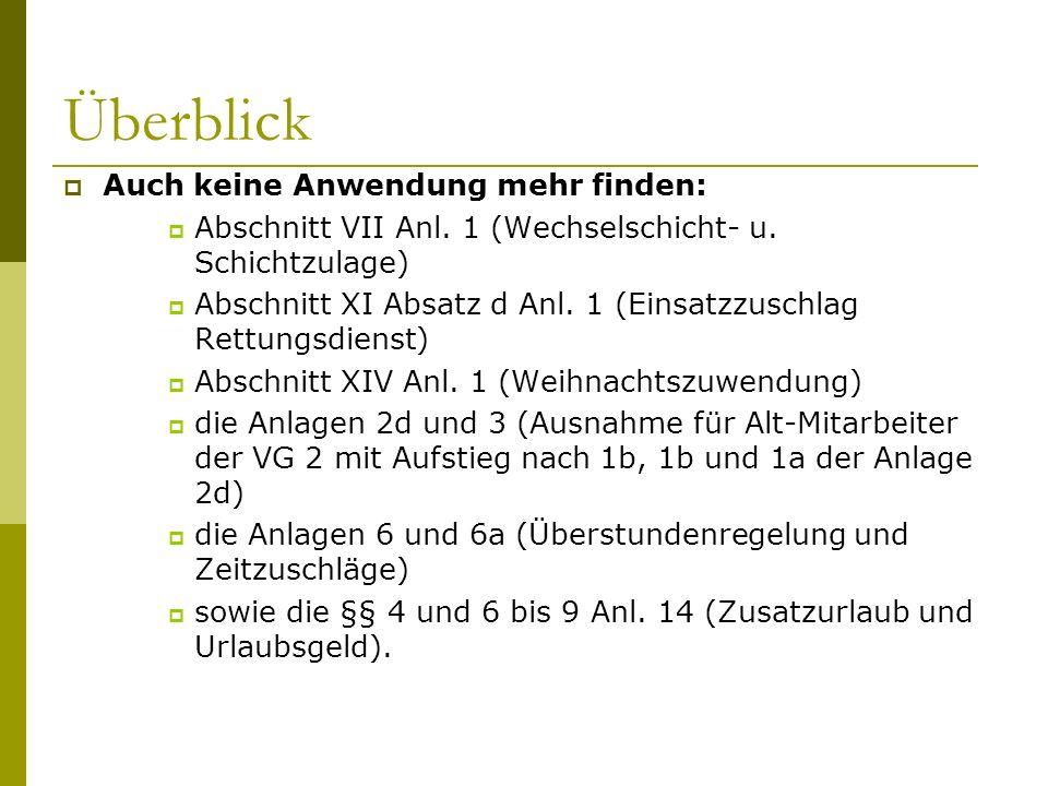 Überblick Auch keine Anwendung mehr finden: Abschnitt VII Anl. 1 (Wechselschicht- u. Schichtzulage) Abschnitt XI Absatz d Anl. 1 (Einsatzzuschlag Rett