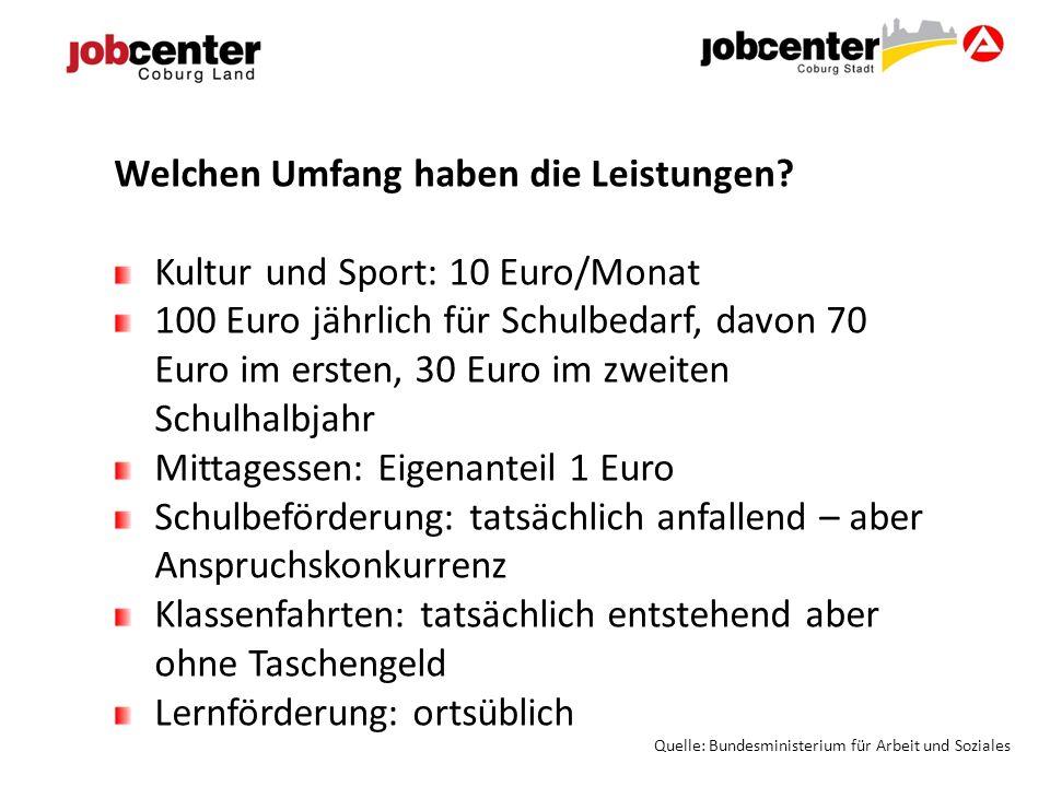 Welchen Umfang haben die Leistungen? Kultur und Sport: 10 Euro/Monat 100 Euro jährlich für Schulbedarf, davon 70 Euro im ersten, 30 Euro im zweiten Sc