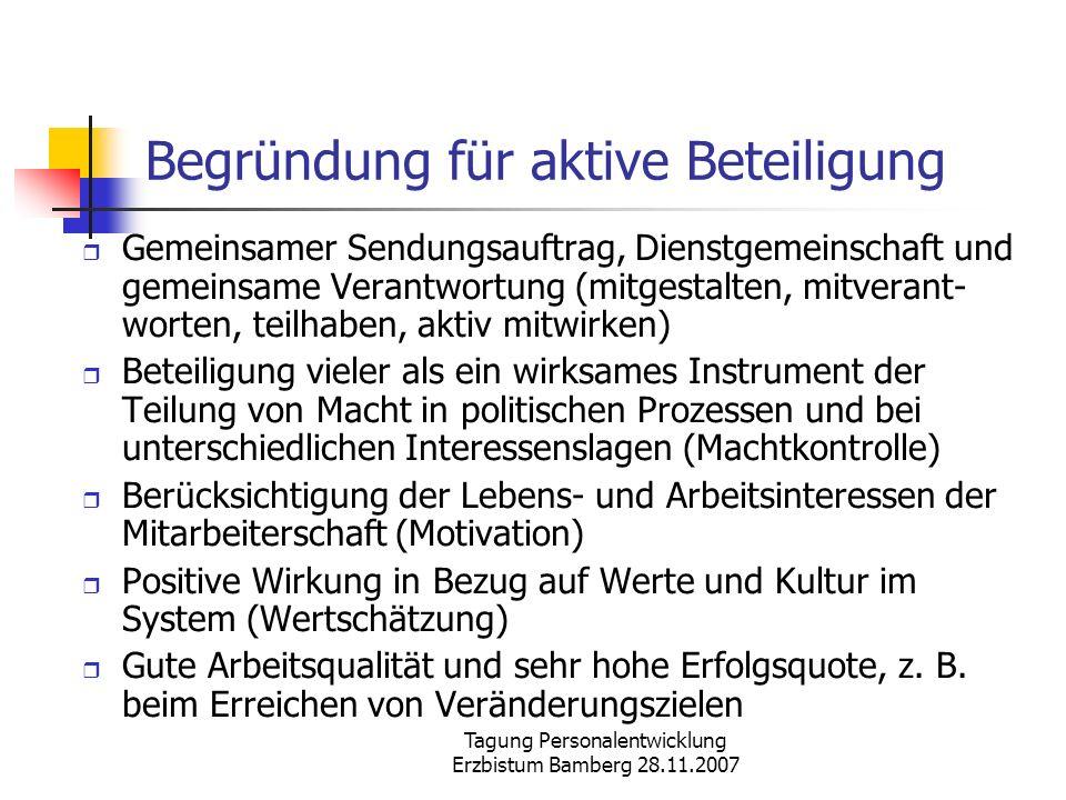 Tagung Personalentwicklung Erzbistum Bamberg 28.11.2007 Begründung für aktive Beteiligung Gemeinsamer Sendungsauftrag, Dienstgemeinschaft und gemeinsa