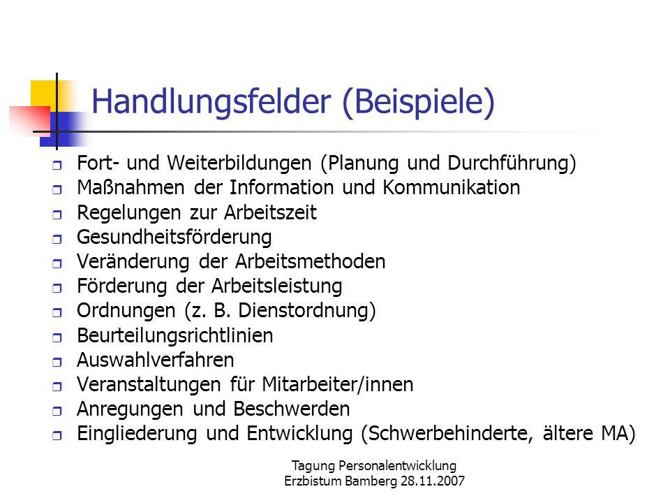 Tagung Personalentwicklung Erzbistum Bamberg 28.11.2007 Handlungsfelder (Beispiele) Fort- und Weiterbildungen (Planung und Durchführung) Maßnahmen der