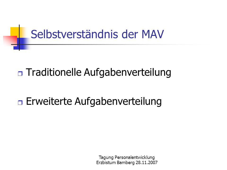 Tagung Personalentwicklung Erzbistum Bamberg 28.11.2007 Selbstverständnis der MAV Traditionelle Aufgabenverteilung Erweiterte Aufgabenverteilung