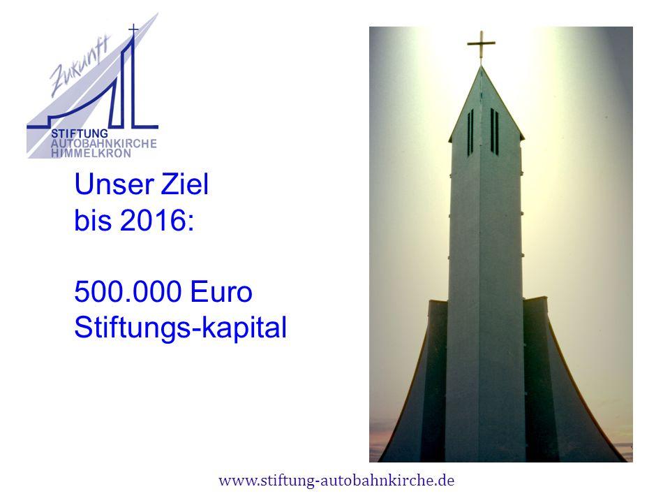 www.stiftung-autobahnkirche.de Unser Ziel bis 2016: 500.000 Euro Stiftungs-kapital