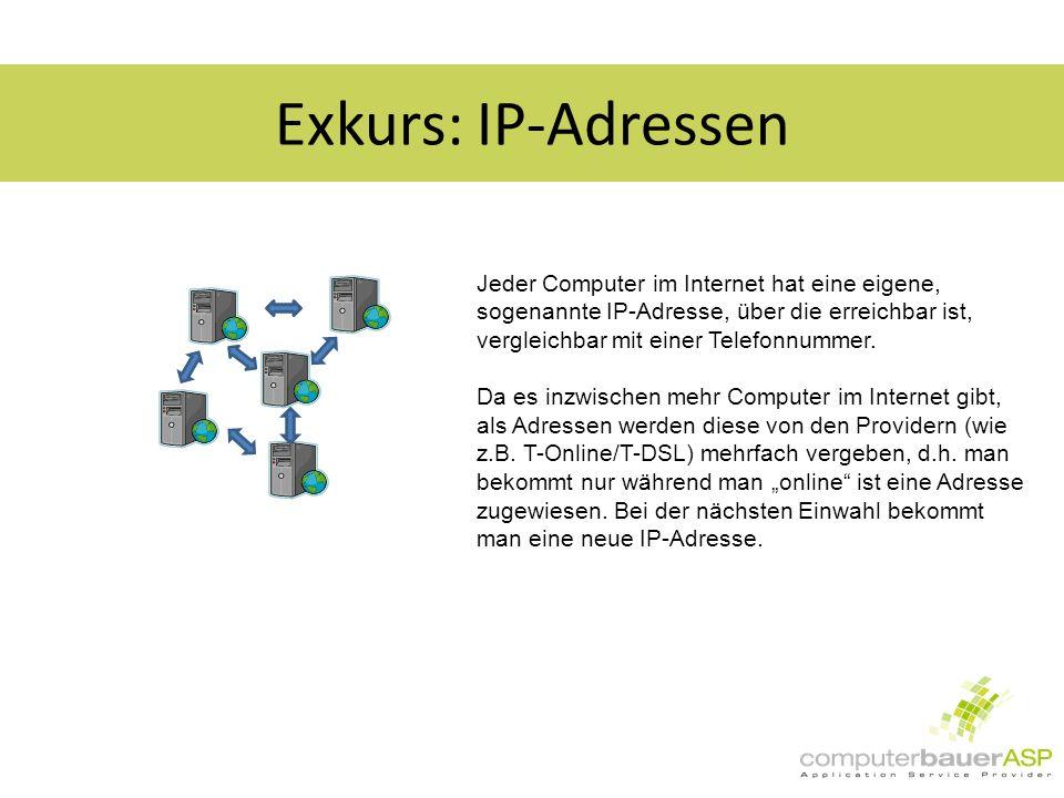Exkurs: IP-Adressen Jeder Computer im Internet hat eine eigene, sogenannte IP-Adresse, über die erreichbar ist, vergleichbar mit einer Telefonnummer.