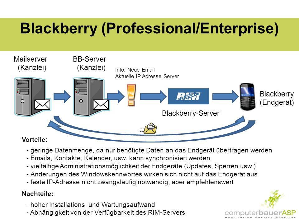 Blackberry (Professional/Enterprise) Mailserver (Kanzlei) Info: Neue Email Aktuelle IP Adresse Server Blackberry (Endgerät) Vorteile: - geringe Datenmenge, da nur benötigte Daten an das Endgerät übertragen werden - Emails, Kontakte, Kalender, usw.