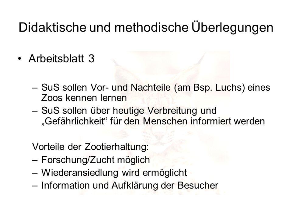 Didaktische und methodische Überlegungen Arbeitsblatt 3 –SuS sollen Vor- und Nachteile (am Bsp. Luchs) eines Zoos kennen lernen –SuS sollen über heuti