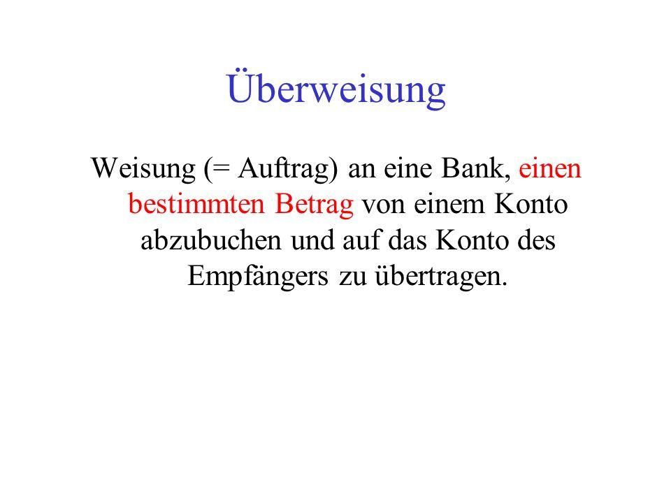 Inhaltsangabe 1.Überweisung 2.Dauerauftrag 3.Verrechnungscheck / Barcheck 4.Lastschrift 5.Eurocheck- Karte ( EC- Karte) 6.Kreditkarte 7.Homebanking