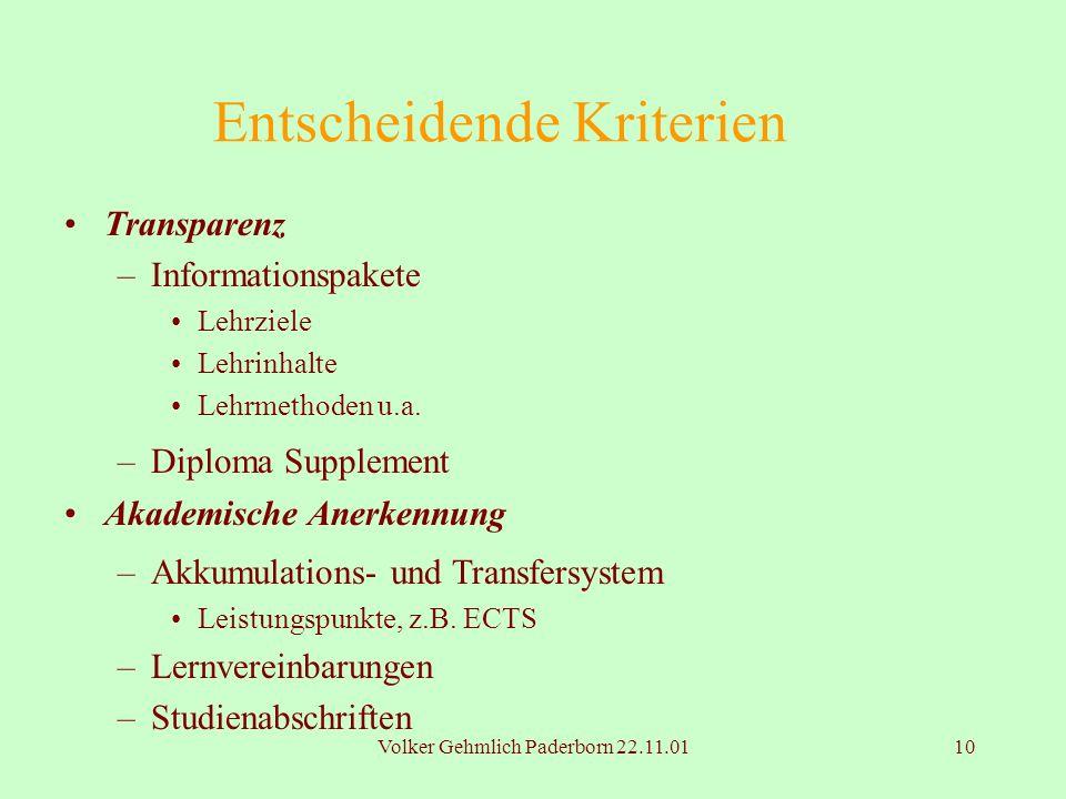 Volker Gehmlich Paderborn 22.11.0110 Entscheidende Kriterien Transparenz –Informationspakete Lehrziele Lehrinhalte Lehrmethoden u.a. –Diploma Suppleme