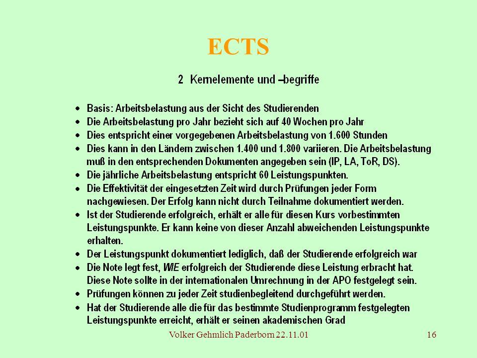 Volker Gehmlich Paderborn 22.11.0116 ECTS