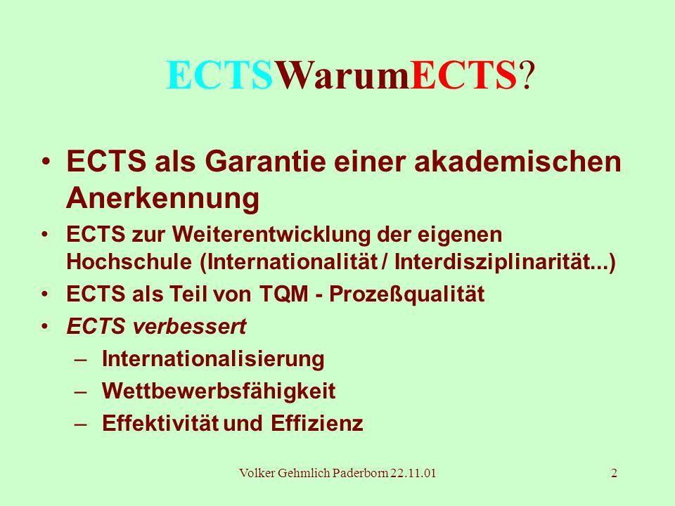 Volker Gehmlich Paderborn 22.11.012 ECTSWarumECTS? ECTS als Garantie einer akademischen Anerkennung ECTS zur Weiterentwicklung der eigenen Hochschule