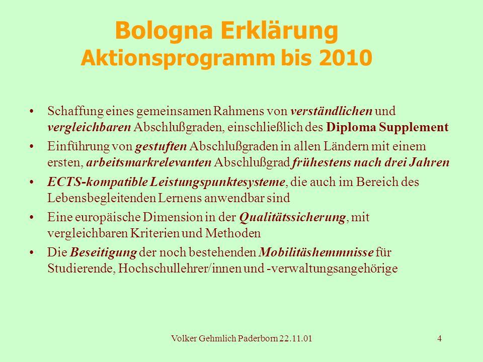 Volker Gehmlich Paderborn 22.11.014 Bologna Erklärung Aktionsprogramm bis 2010 Schaffung eines gemeinsamen Rahmens von verständlichen und vergleichbar