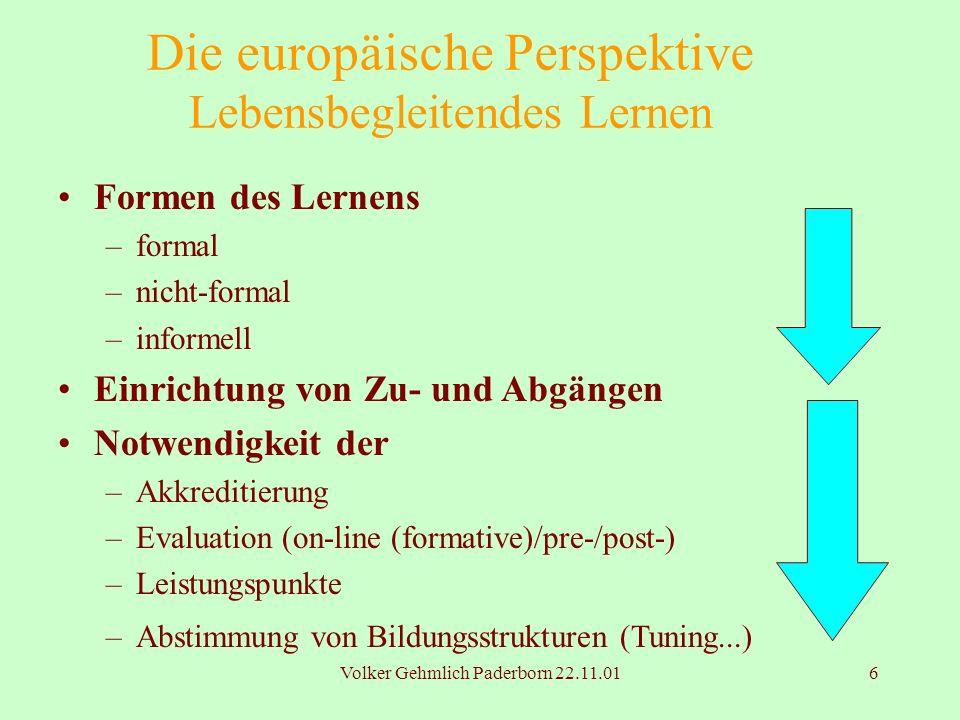 Volker Gehmlich Paderborn 22.11.016 Die europäische Perspektive Lebensbegleitendes Lernen Formen des Lernens –formal –nicht-formal –informell Einricht