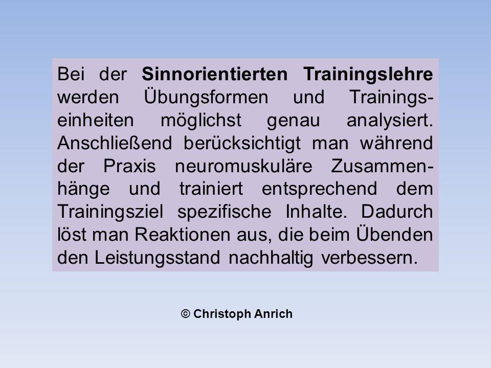 Bei der Sinnorientierten Trainingslehre werden Übungsformen und Trainings- einheiten möglichst genau analysiert.