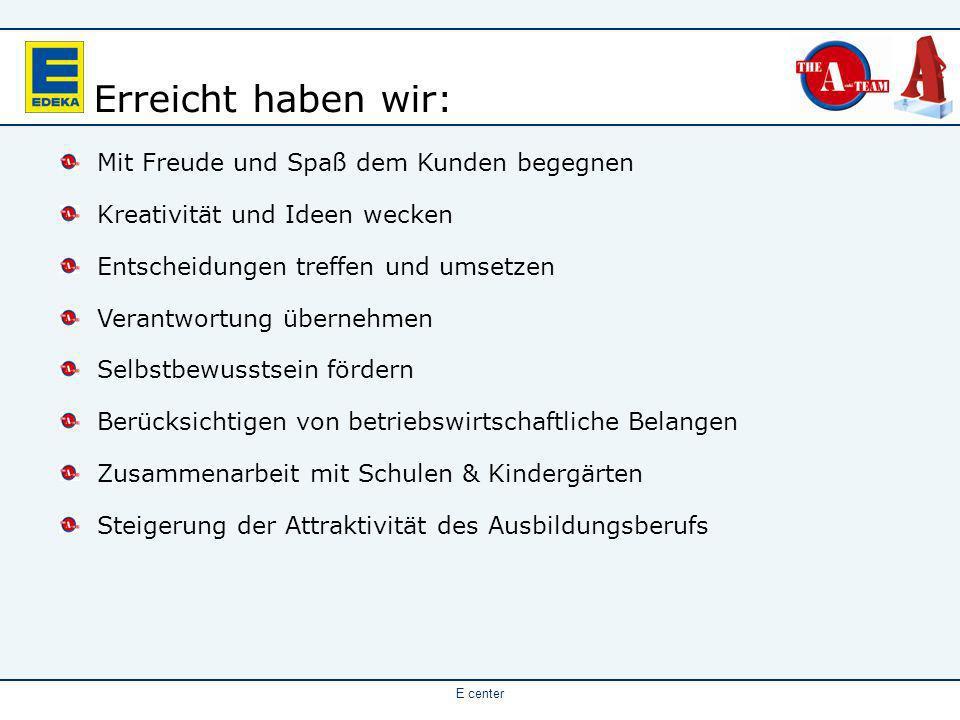 E center Die Lebensmittelzeitung DIREKT verlieh den Sales Cup 2005 in der Rubrik Teamerfolg.