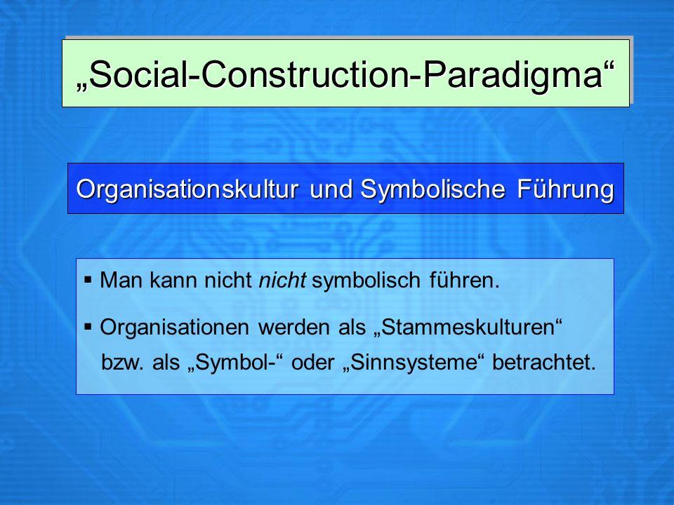 Social-Construction-ParadigmaSocial-Construction-Paradigma Man kann nicht nicht symbolisch führen. Organisationen werden als Stammeskulturen bzw. als