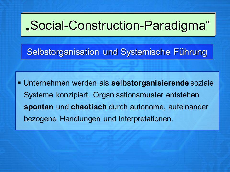 Selbstorganisation und Systemische Führung Unternehmen werden als selbstorganisierende soziale Systeme konzipiert. Organisationsmuster entstehen spont