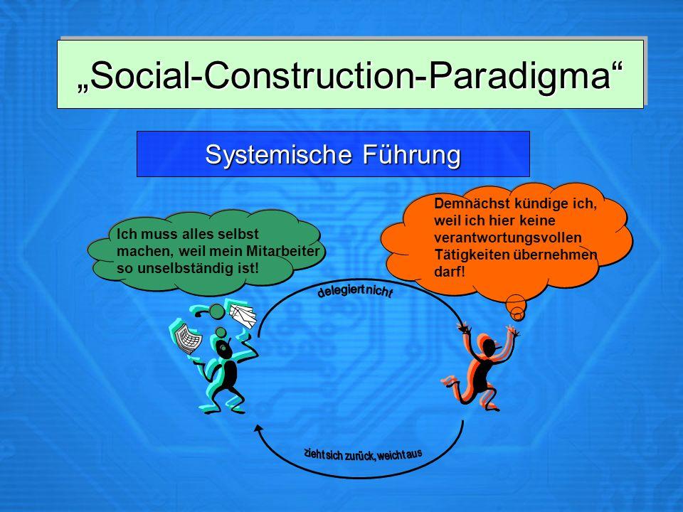 Social-Construction-ParadigmaSocial-Construction-Paradigma SystemischeFührung Systemische Führung Ich muss alles selbst machen, weil mein Mitarbeiter so unselbständig ist.