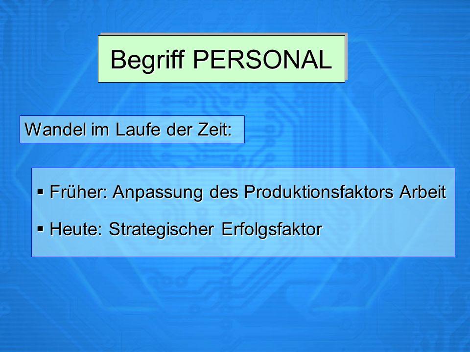 Begriff PERSONAL Wandel im Laufe der Zeit: Früher: Anpassung des Produktionsfaktors Arbeit Früher: Anpassung des Produktionsfaktors Arbeit Heute: Stra