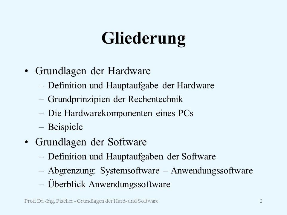 Prof. Dr.-Ing. Fischer - Grundlagen der Hard- und Software2 Gliederung Grundlagen der Hardware –Definition und Hauptaufgabe der Hardware –Grundprinzip