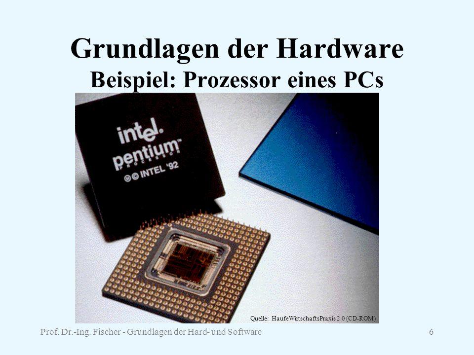 Prof. Dr.-Ing. Fischer - Grundlagen der Hard- und Software6 Grundlagen der Hardware Beispiel: Prozessor eines PCs Quelle: HaufeWirtschaftsPraxis 2.0 (