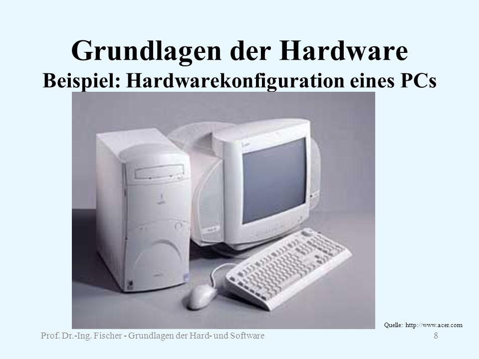 Prof. Dr.-Ing. Fischer - Grundlagen der Hard- und Software8 Grundlagen der Hardware Beispiel: Hardwarekonfiguration eines PCs Quelle: http://www.acer.