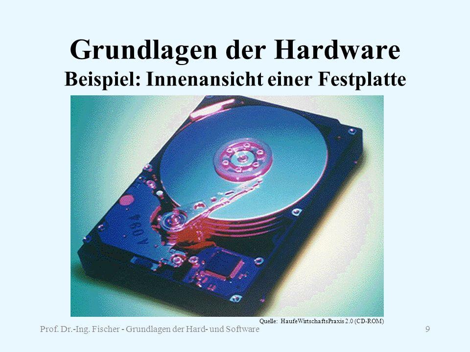 Prof. Dr.-Ing. Fischer - Grundlagen der Hard- und Software9 Grundlagen der Hardware Beispiel: Innenansicht einer Festplatte Quelle: HaufeWirtschaftsPr