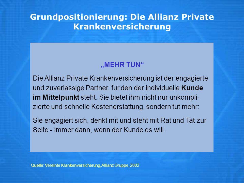 Grundpositionierung: Die Allianz Private Krankenversicherung MEHR TUN Die Allianz Private Krankenversicherung ist der engagierte und zuverlässige Part