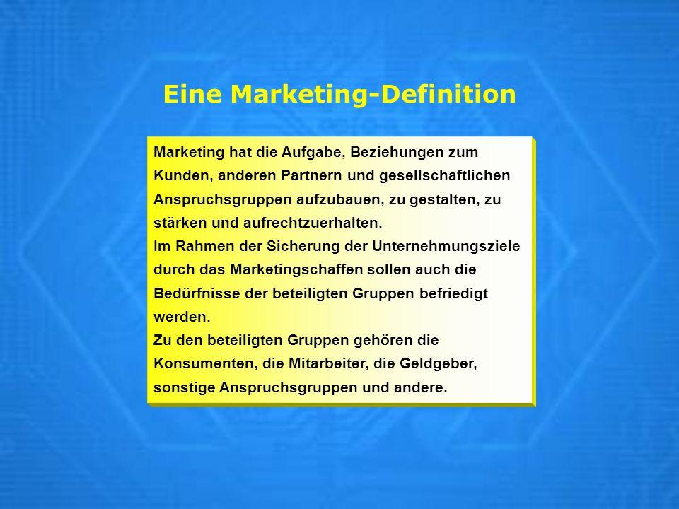 Eine Marketing-Definition Marketing hat die Aufgabe, Beziehungen zum Kunden, anderen Partnern und gesellschaftlichen Anspruchsgruppen aufzubauen, zu g