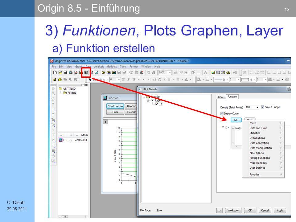 Origin 8.5 - Einführung 15 C. Disch 29.08.2011 a) Funktion erstellen 3) Funktionen, Plots Graphen, Layer