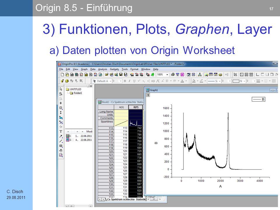 Origin 8.5 - Einführung 17 C. Disch 29.08.2011 a) Daten plotten von Origin Worksheet 3) Funktionen, Plots, Graphen, Layer