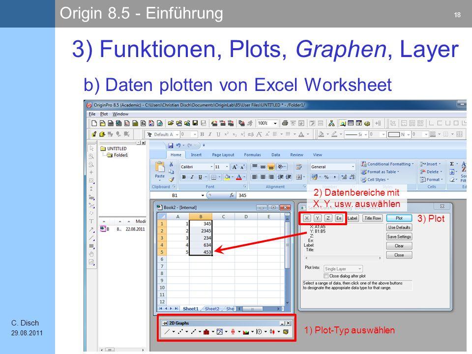 Origin 8.5 - Einführung 18 C. Disch 29.08.2011 b) Daten plotten von Excel Worksheet 3) Funktionen, Plots, Graphen, Layer 1) Plot-Typ auswählen 2) Date