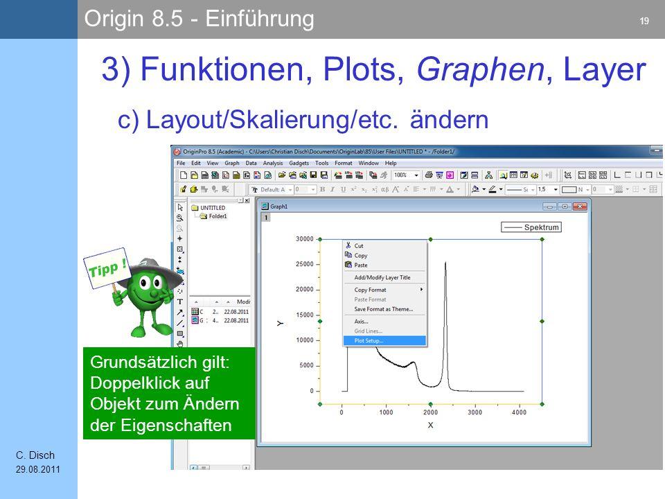 Origin 8.5 - Einführung 19 C. Disch 29.08.2011 c) Layout/Skalierung/etc. ändern 3) Funktionen, Plots, Graphen, Layer Grundsätzlich gilt: Doppelklick a