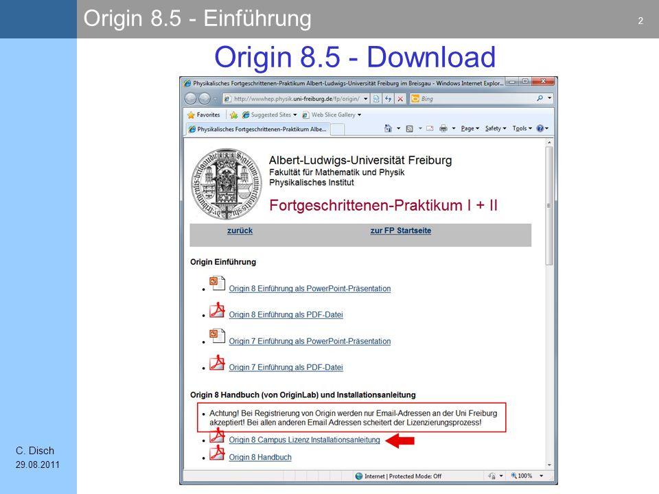 Origin 8.5 - Einführung 53 C. Disch 29.08.2011 Fit abschließen 1) 2)