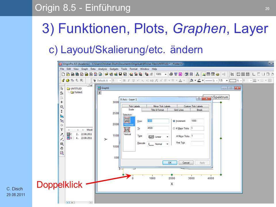 Origin 8.5 - Einführung 20 C. Disch 29.08.2011 c) Layout/Skalierung/etc. ändern 3) Funktionen, Plots, Graphen, Layer Doppelklick