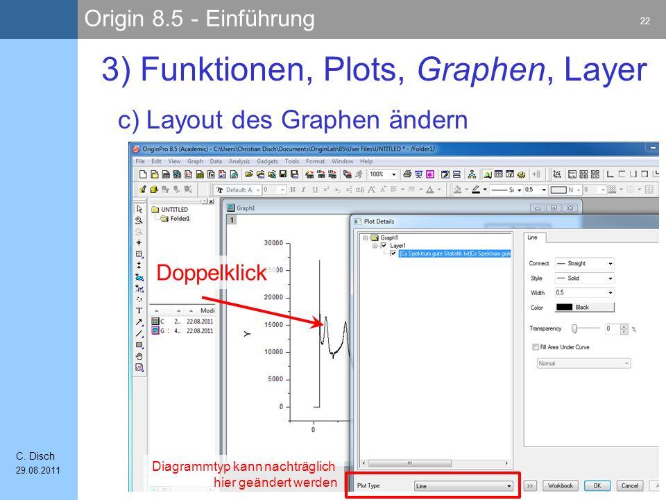 Origin 8.5 - Einführung 22 C. Disch 29.08.2011 c) Layout des Graphen ändern 3) Funktionen, Plots, Graphen, Layer Diagrammtyp kann nachträglich hier ge