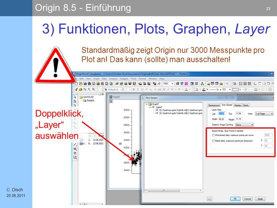 Origin 8.5 - Einführung 23 C. Disch 29.08.2011 3) Funktionen, Plots, Graphen, Layer Standardmäßig zeigt Origin nur 3000 Messpunkte pro Plot an! Das ka