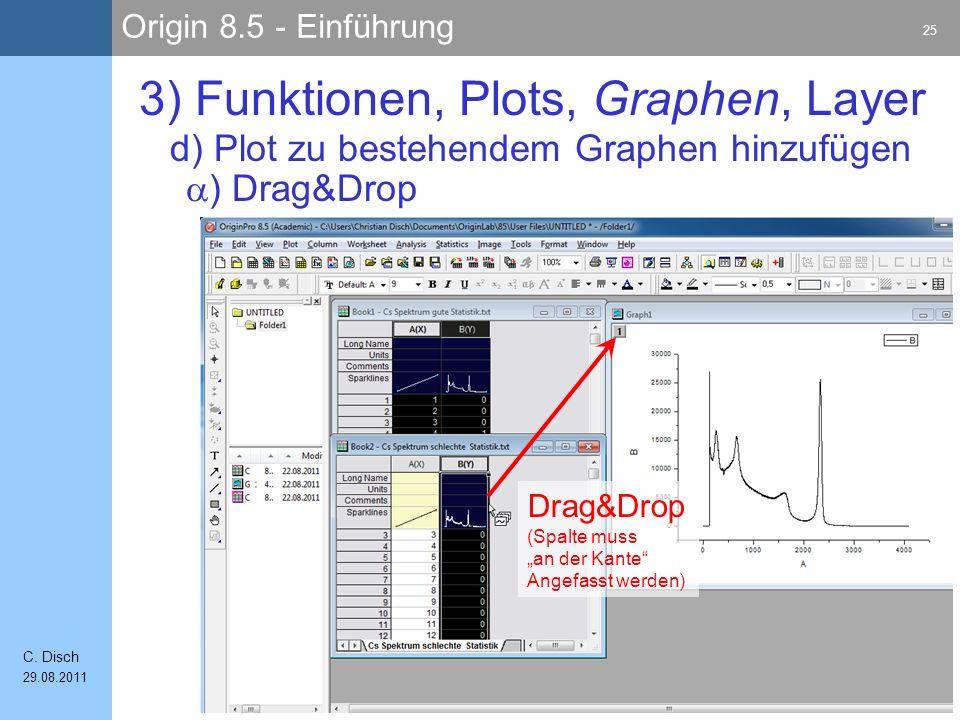 Origin 8.5 - Einführung 25 C. Disch 29.08.2011 3) Funktionen, Plots, Graphen, Layer Drag&Drop (Spalte muss an der Kante Angefasst werden) ) Drag&Drop