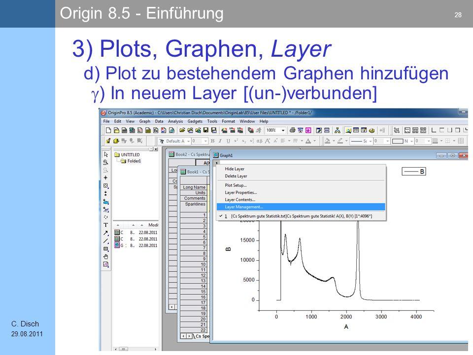 Origin 8.5 - Einführung 28 C. Disch 29.08.2011 3) Plots, Graphen, Layer ) In neuem Layer [(un-)verbunden] d) Plot zu bestehendem Graphen hinzufügen