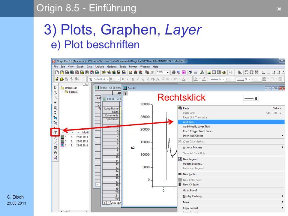 Origin 8.5 - Einführung 30 C. Disch 29.08.2011 3) Plots, Graphen, Layer e) Plot beschriften Rechtsklick