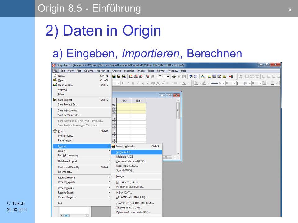 Origin 8.5 - Einführung 7 C.