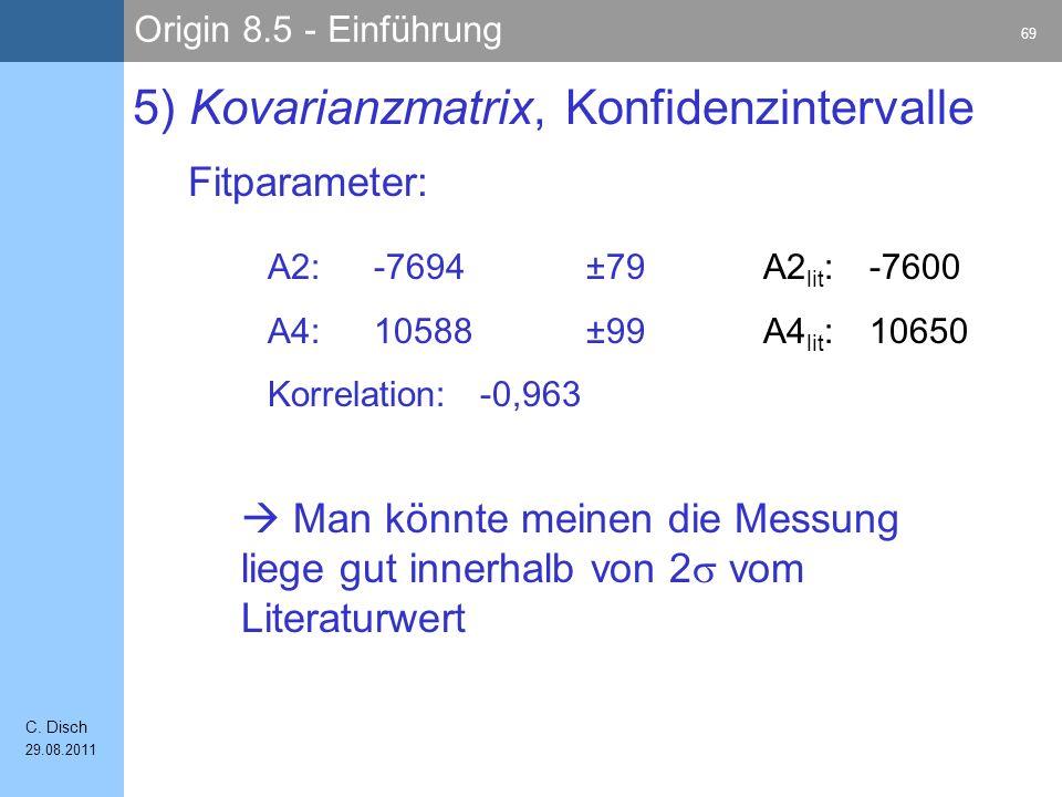 Origin 8.5 - Einführung 69 C. Disch 29.08.2011 Fitparameter: 5) Kovarianzmatrix, Konfidenzintervalle A2:-7694±79 A4:10588±99 Korrelation:-0,963 A2 lit