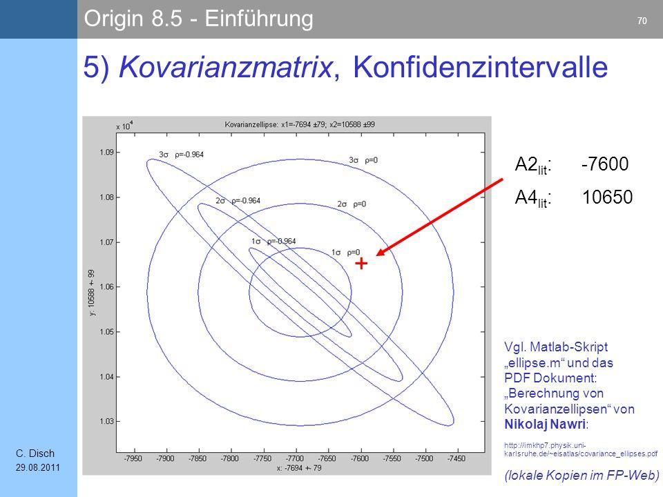 Origin 8.5 - Einführung 70 C. Disch 29.08.2011 5) Kovarianzmatrix, Konfidenzintervalle A2 lit :-7600 A4 lit :10650 Vgl. Matlab-Skript ellipse.m und da