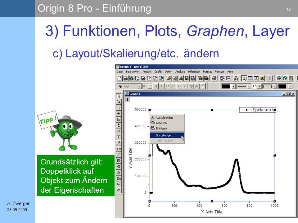 Origin 8 Pro - Einführung 17 A. Zwerger 28.09.2009 c) Layout/Skalierung/etc. ändern 3) Funktionen, Plots, Graphen, Layer Grundsätzlich gilt: Doppelkli