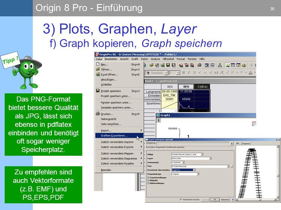 Origin 8 Pro - Einführung 30 A. Zwerger 28.09.2009 3) Plots, Graphen, Layer f) Graph kopieren, Graph speichern Das PNG-Format bietet bessere Qualität
