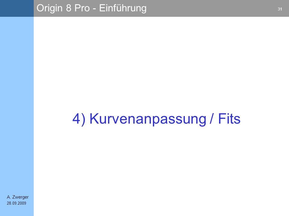 Origin 8 Pro - Einführung 31 A. Zwerger 28.09.2009 4) Kurvenanpassung / Fits